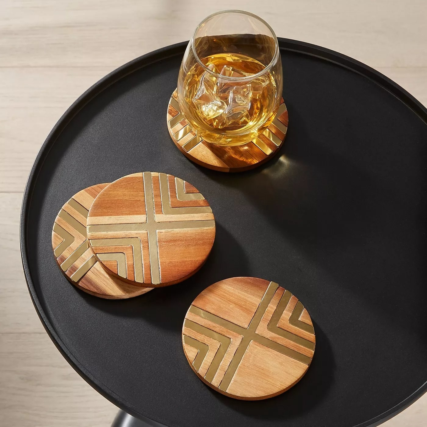 coasters on side table