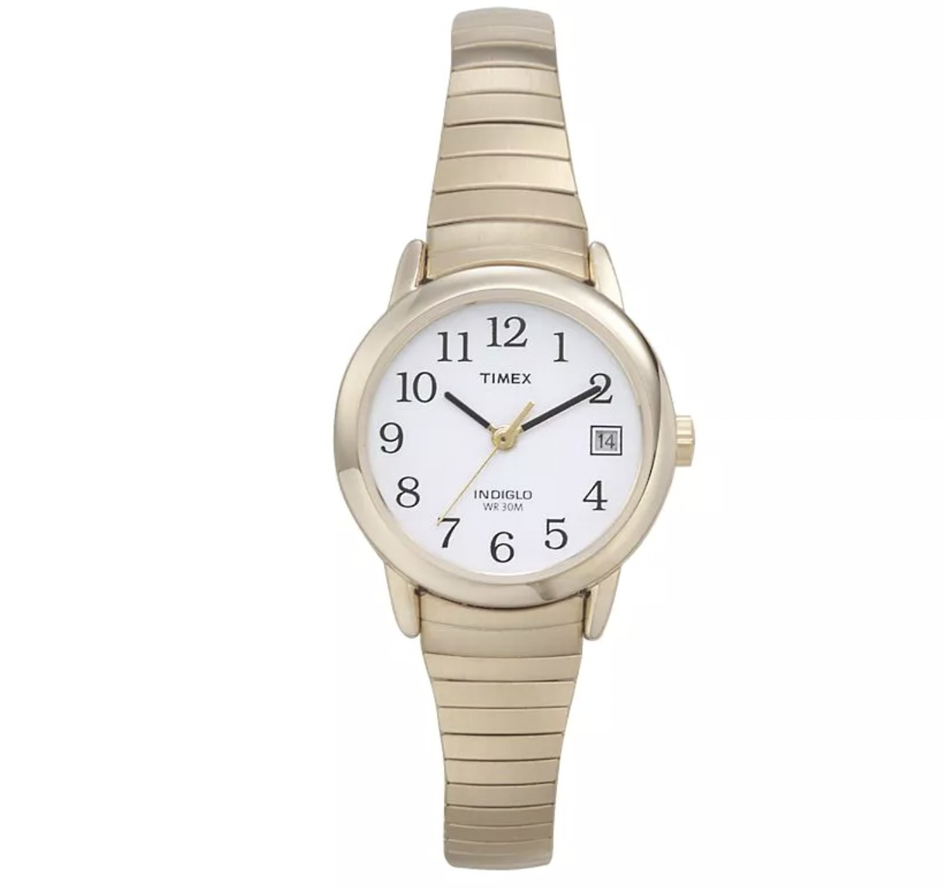 A gold timepiece watch with ridged detailing on the links
