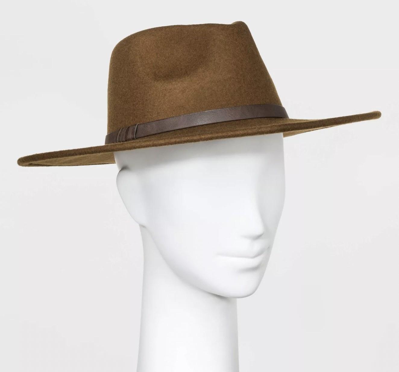 A wide brim brown hat