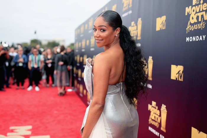 Tiffany Haddish in a silver gown at the 2018 MTV Movie And TV Awards