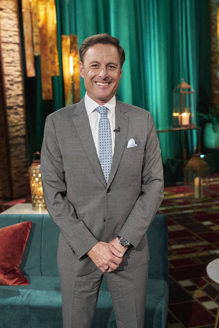 Chris Harrison stands on the set of The Bachelor.