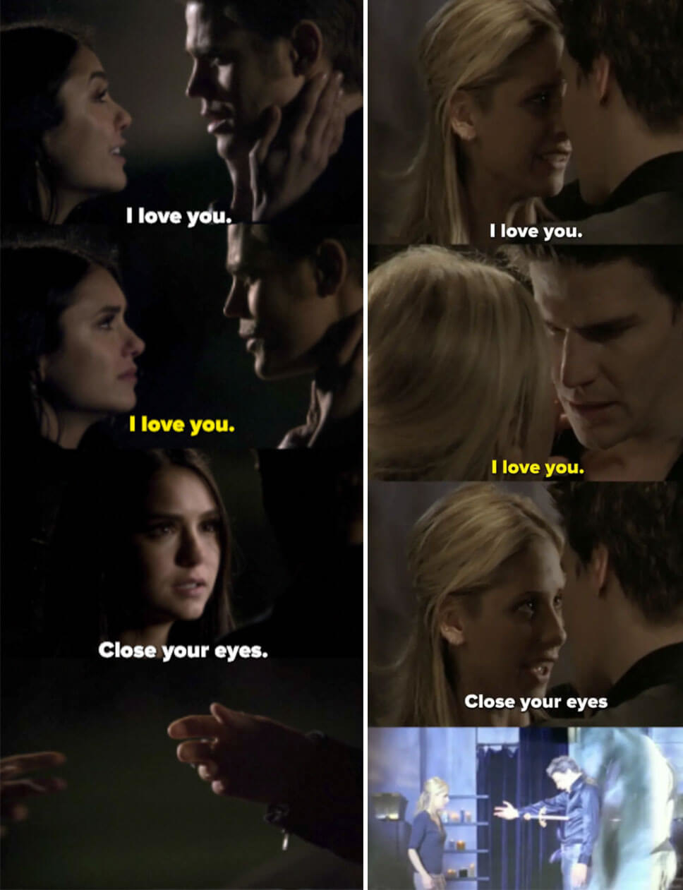 "Elena/Buffy tell Stefan/Angel they love them, and Stefan/Angel say ""I love you"" too. Then Elena/Buffy say ""close your eyes"" and we see Stefan/Angel's outstretched hand"