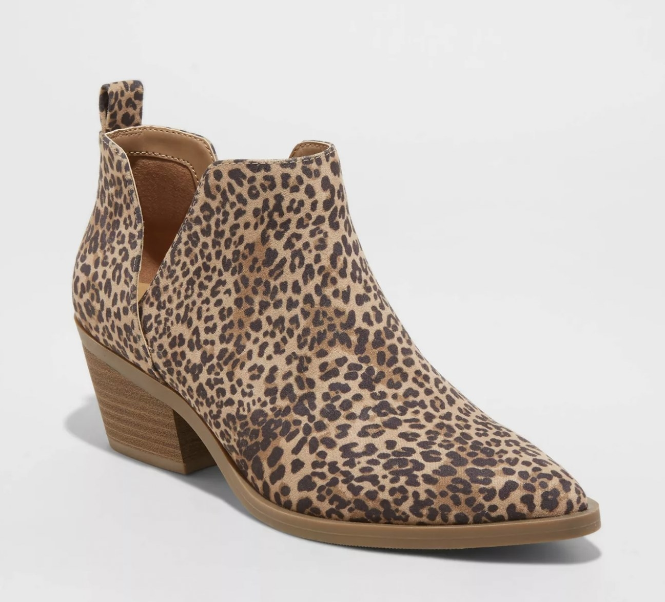 A pair of leopard print boots
