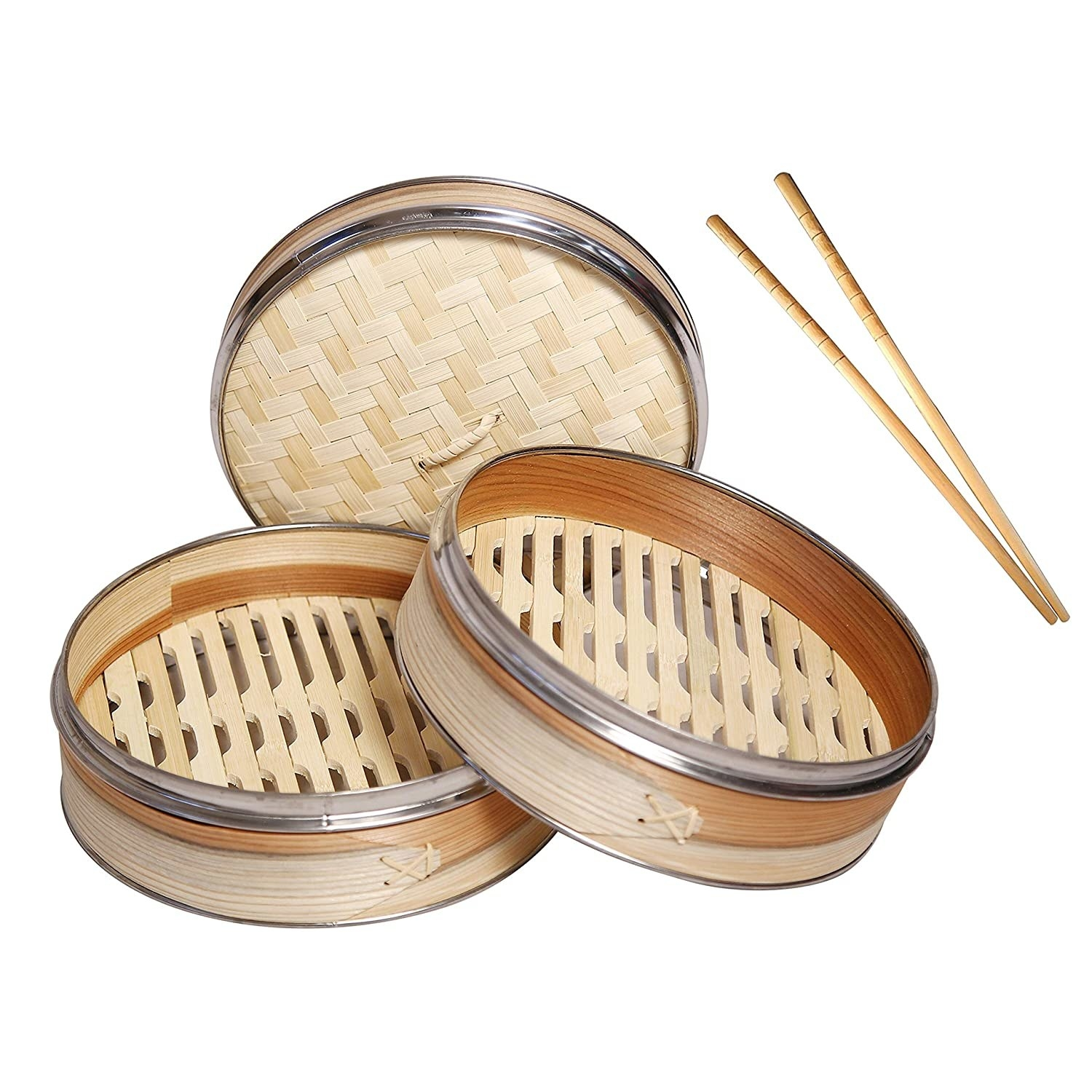 A two tier bamboo steamer