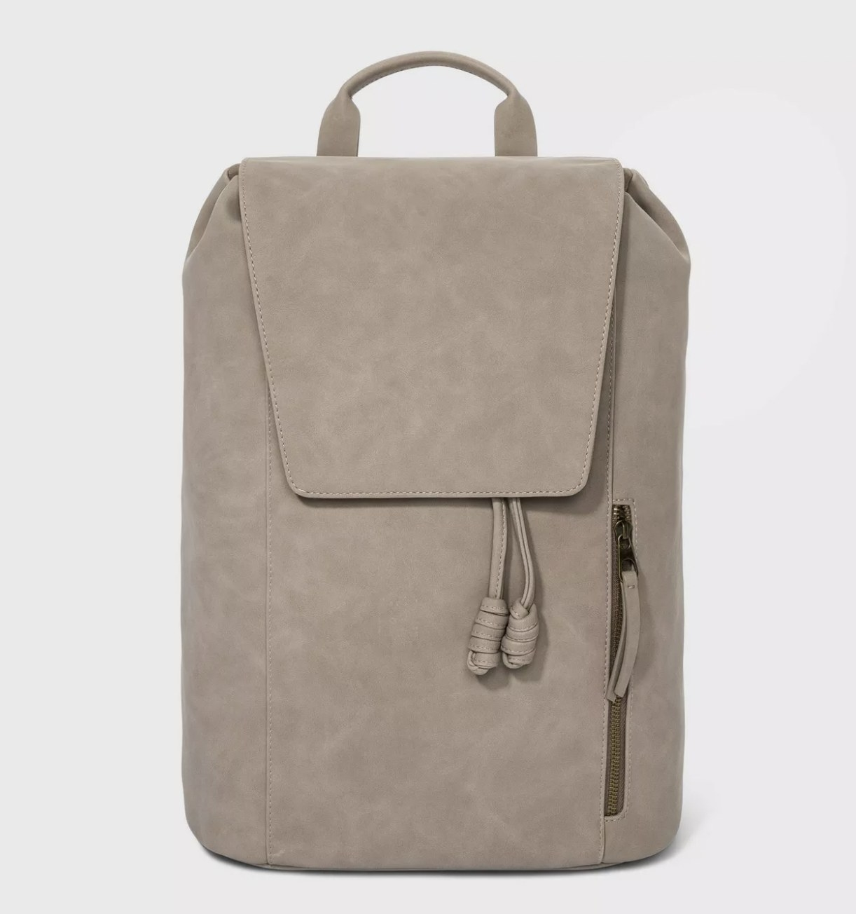 A taupe backpack with a front-sided pocket