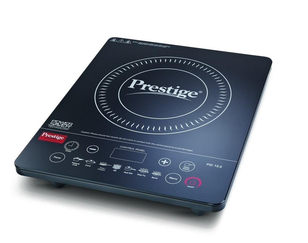 A black induction cooktop