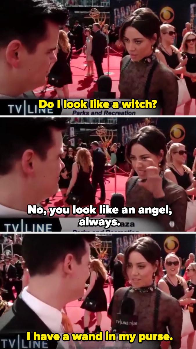 Aubrey asking the interviewer if she looks like a witch and then saying she has a wand in her purse