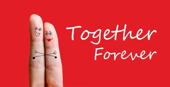 """Card with """"Together Forever"""" written on it."""