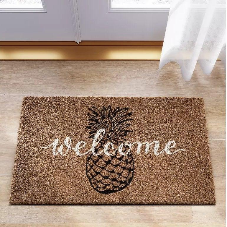 The mat placed in front of the garden door