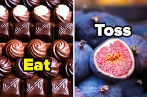 """Chocolate side-by-side with Figs, asking if you'd """"Eat or Toss"""""""