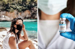 woman wearing a face mask and doctor holding vile of covid-19 vaccine