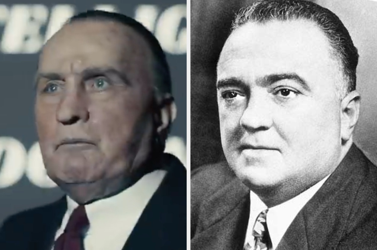 Martin Sheen in prosthetic makeup to make him look like J. Edgar Hoover with a larger nose, receding hairline and puffy face and an archival photo of Hoover