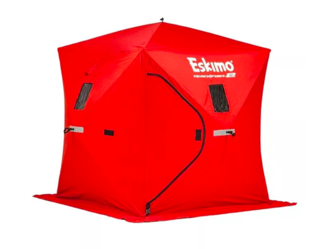 the bright red pop-up ice fishing hub