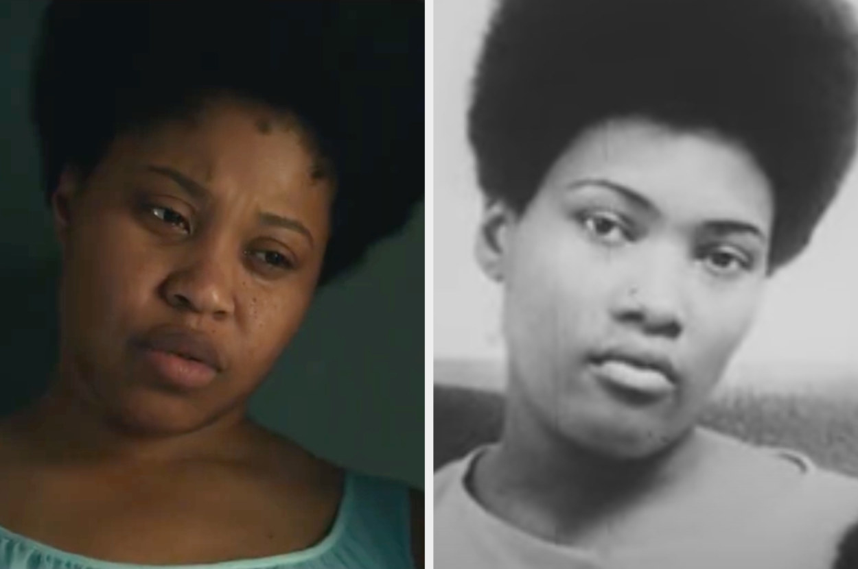Dominique Fishback with her hair in an Afro and Deborah Johnson in archival footage with an Afro