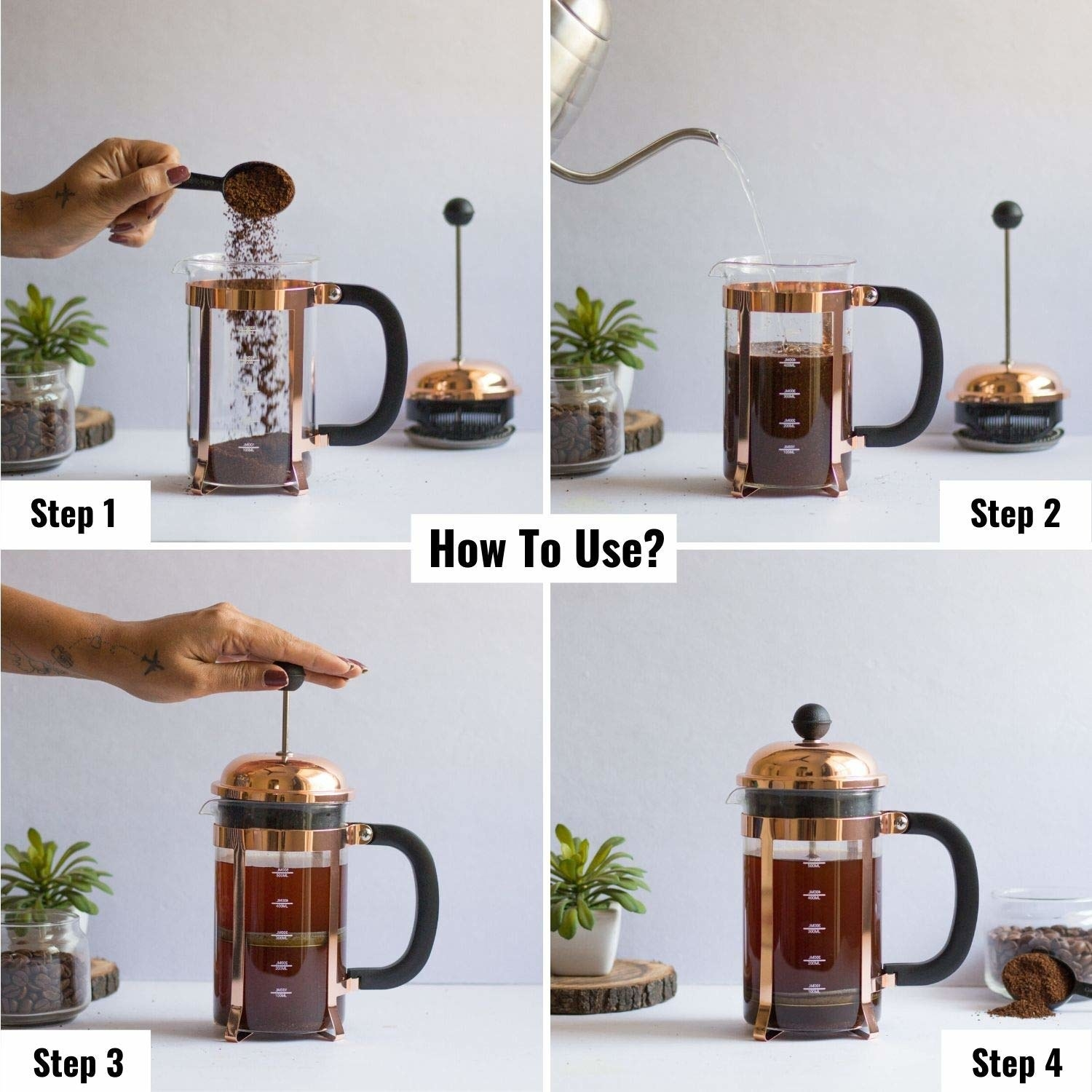 The image show us the steps to use the French Press coffee maker
