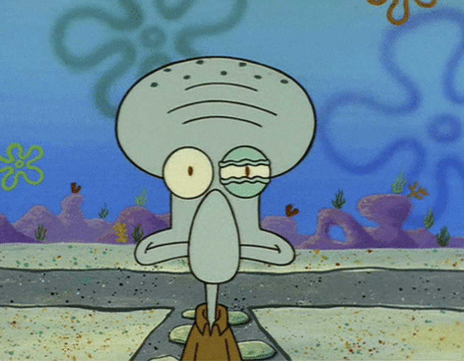 Squidward with one eye twitching