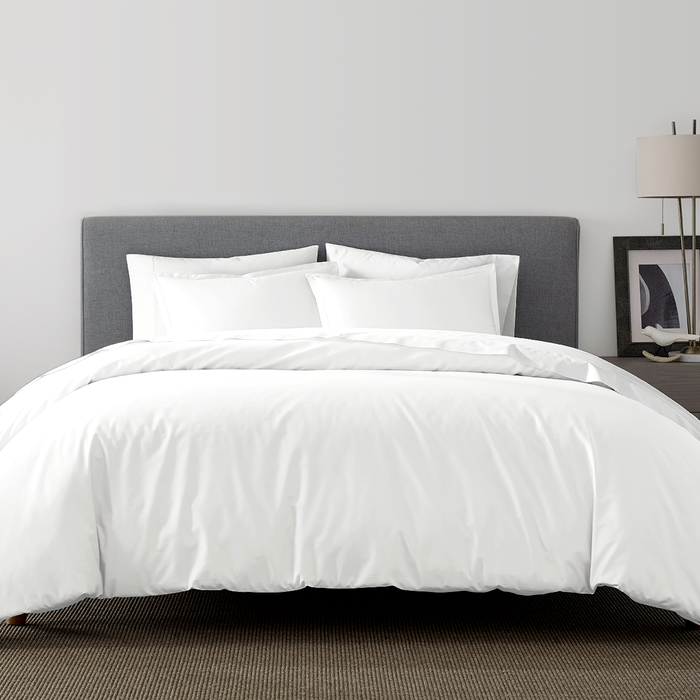 percale duvet cover and shams set in white