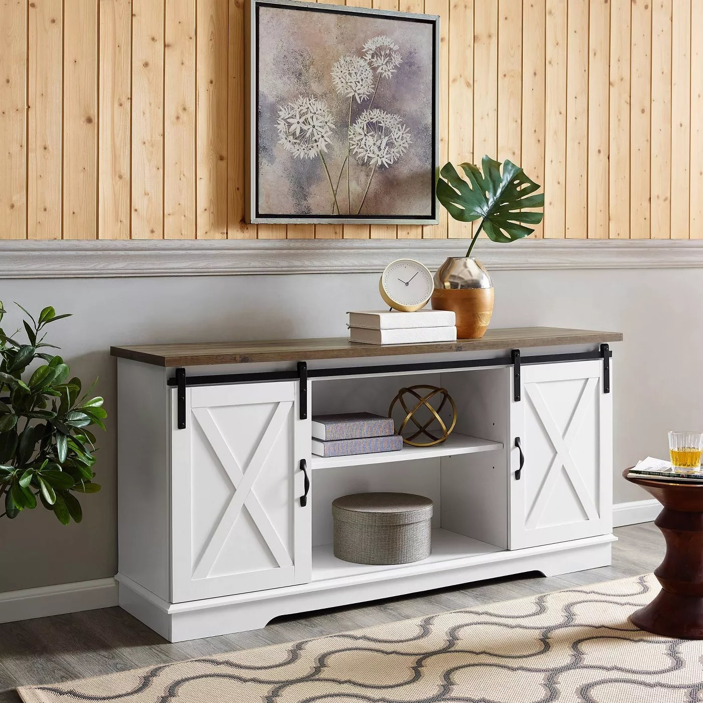 The farmhouse TV stand with barn doors in white