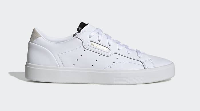 a white adidas sneaker on a normal plain background