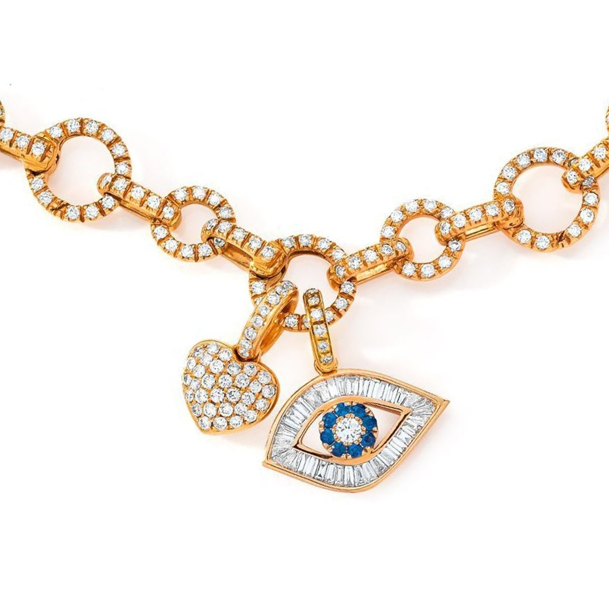 the gold bracelet with an evil eye charm