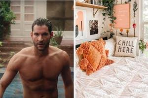 Lucifer Morningstar next to a beautiful bedspread