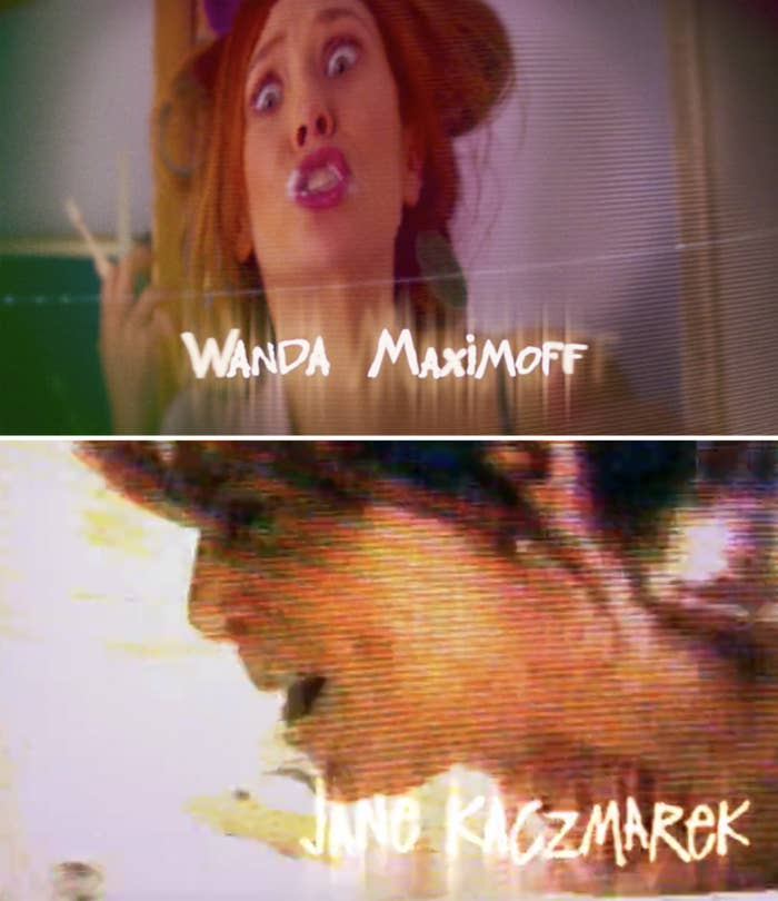 """Title scene from WandaVision featuring Wanda compared to Jane Kaczmarek in """"Malcom in the Middle"""""""