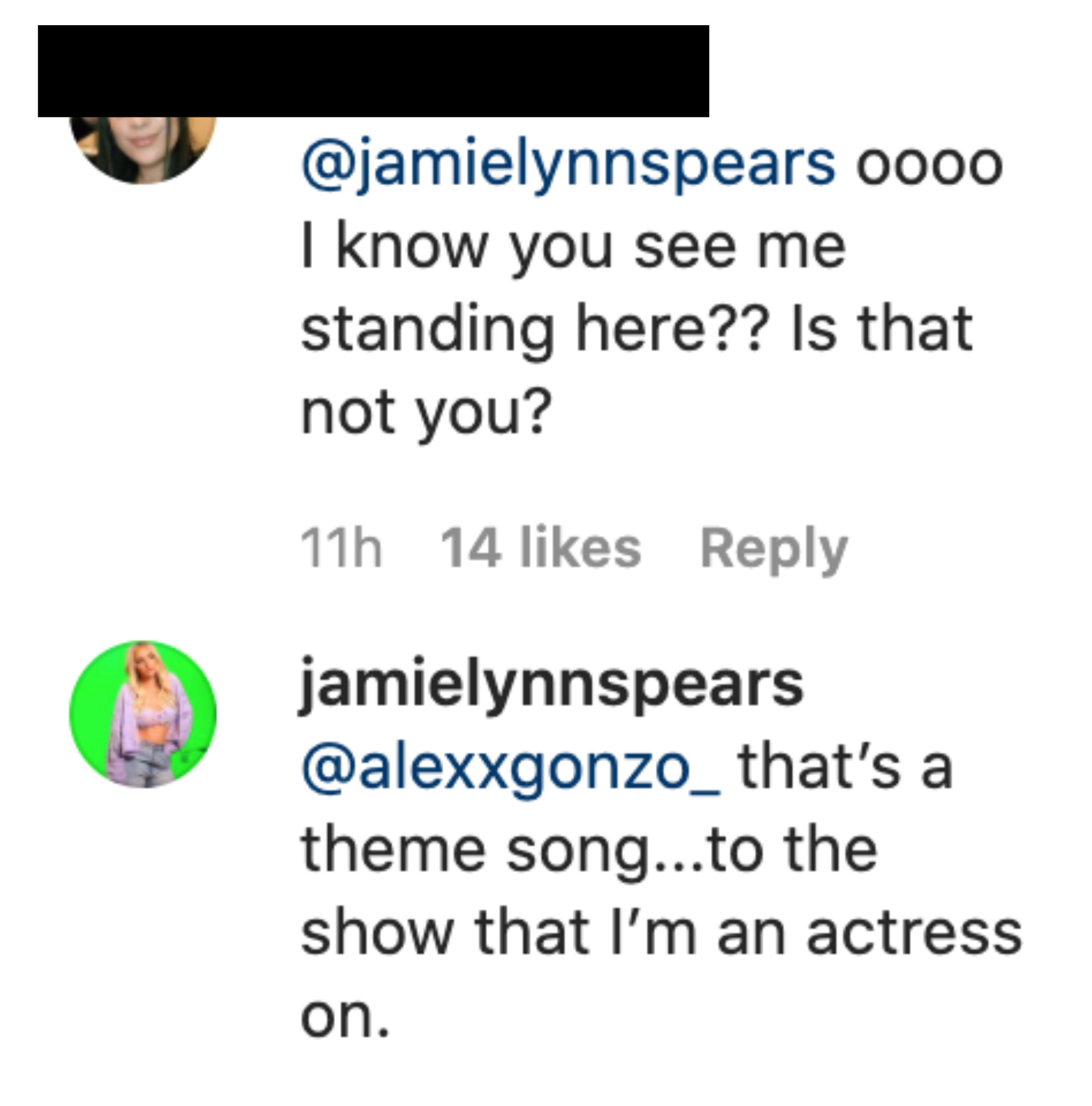 """Jamie Lynn says """"that's a theme song...to the show that I'm an actress on"""""""