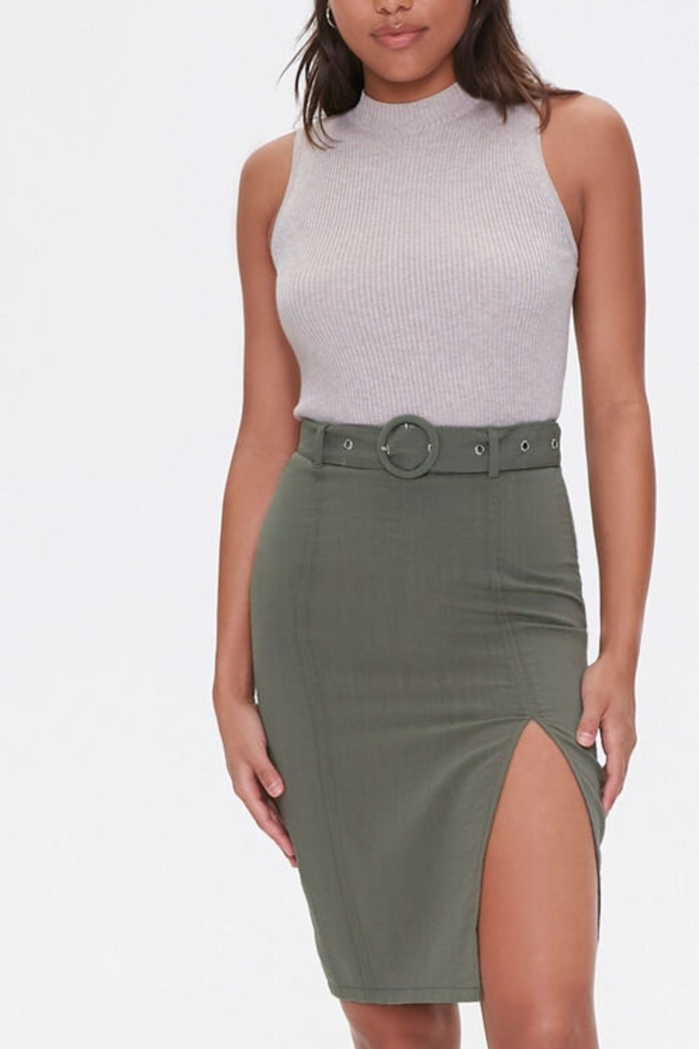 Model wearing the skirt in olive