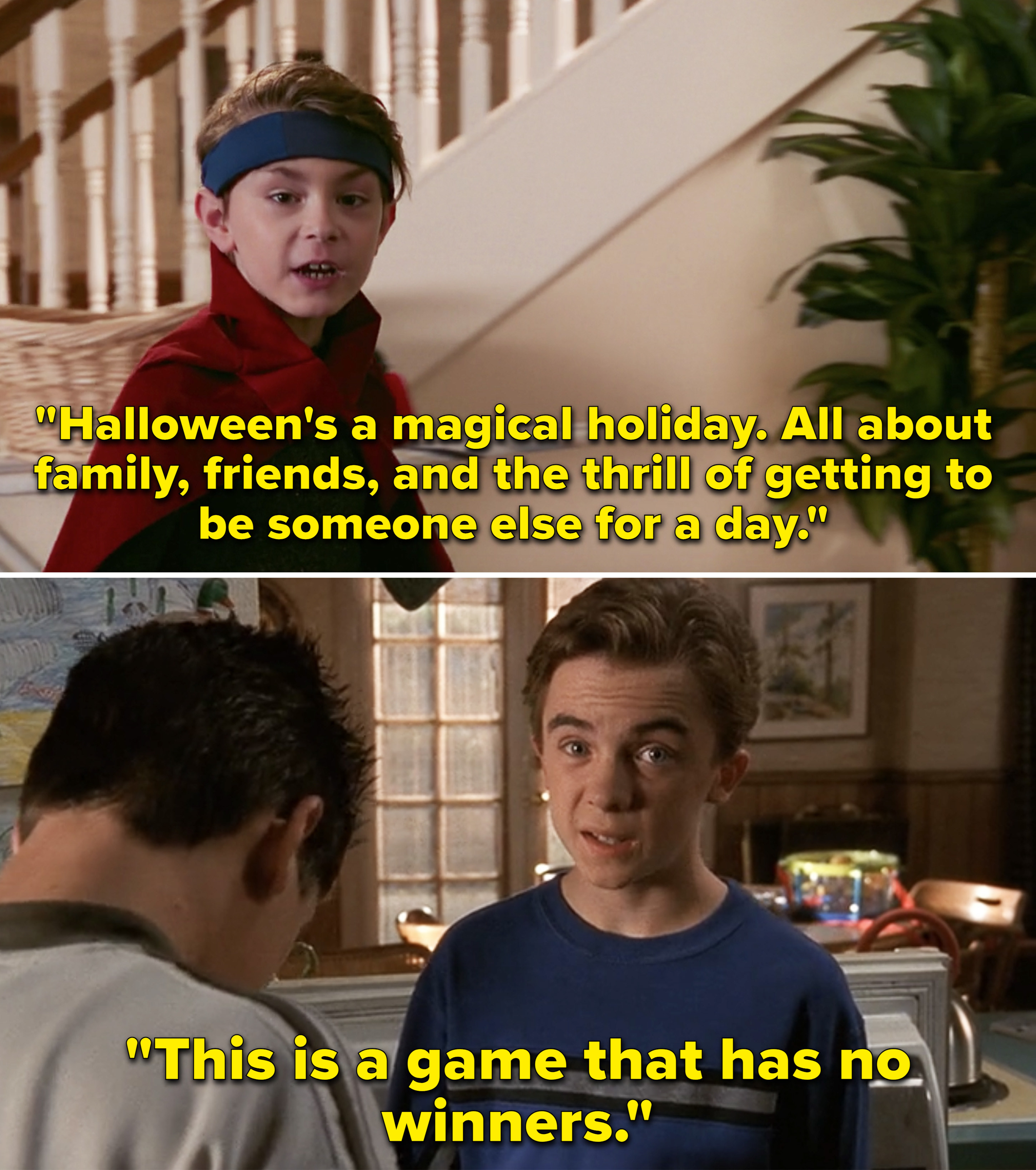Billy saying how Halloween is a magical holiday while talking directly the camera