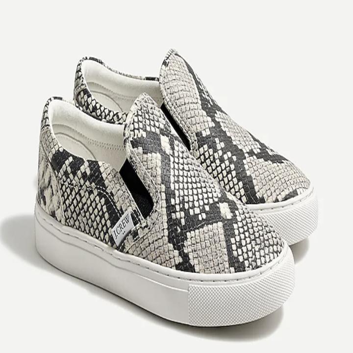 snake-print slip-on sneakers