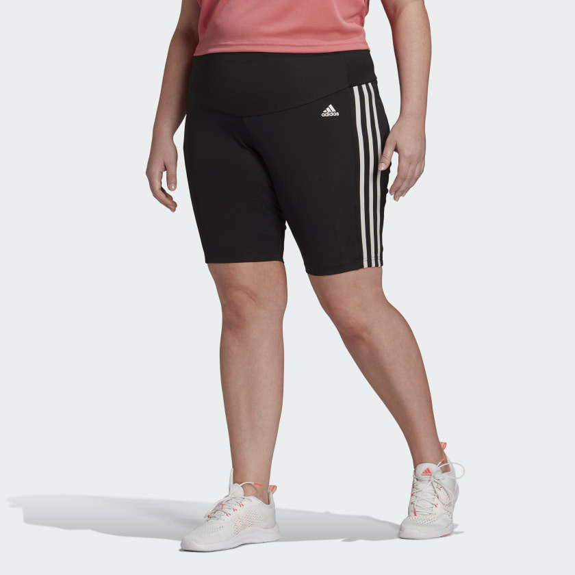black adidas shorts with stripes down the side