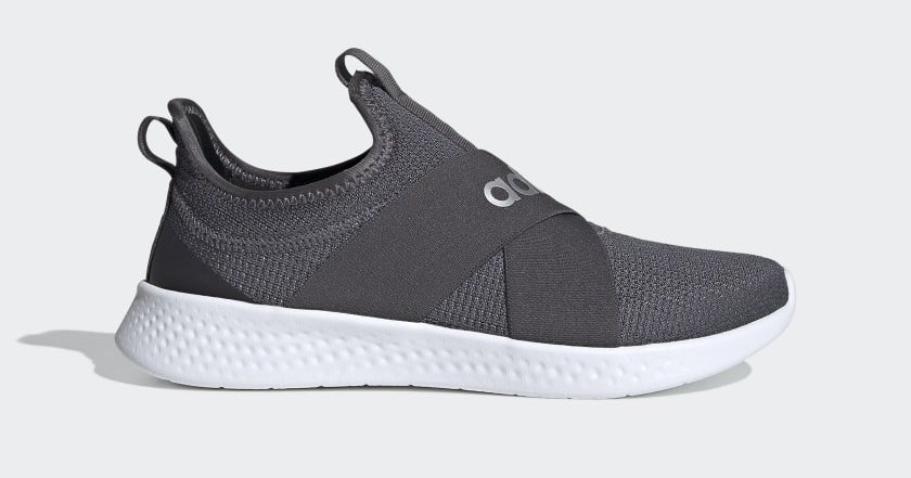 gray slip-on sneakers with a white bottom