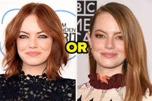 Emma Stone with a middle part next to her with a side part