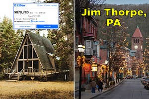 An A-frame Zillow listing, and downtown Jim Thorpe, Pennsylvania