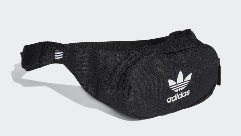 black crossbody bag with an adidas logo on it