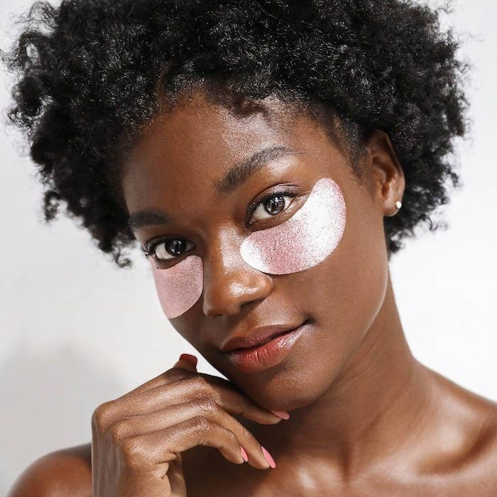 A person wearing the under-eye masks