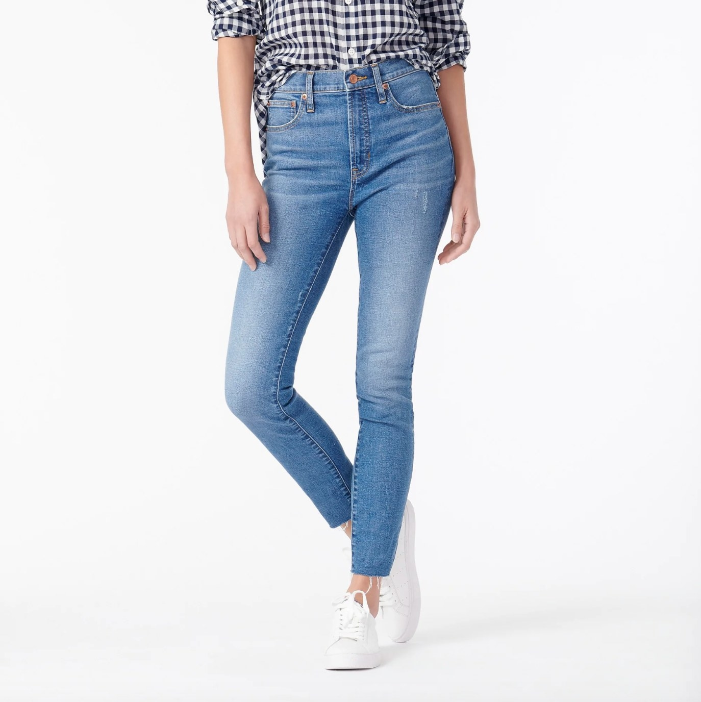 The pair of high-rise toothpick jeans in blue