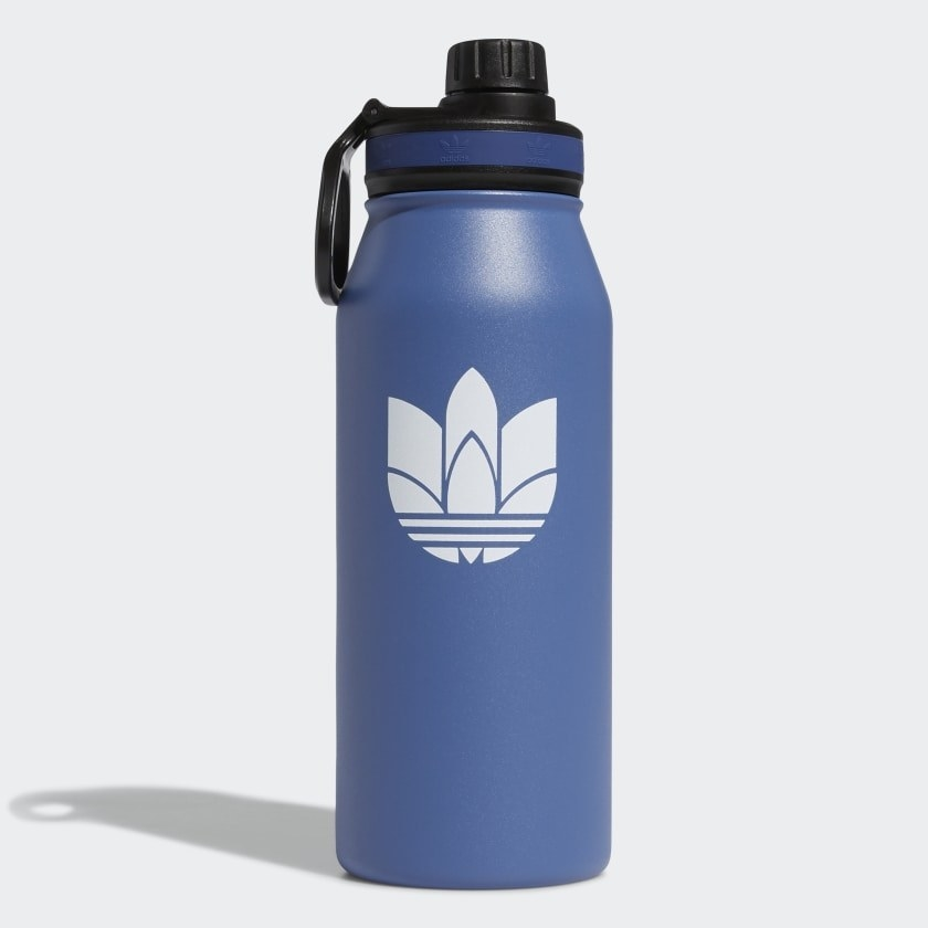 blue water bottle with a retro adidas logo on it