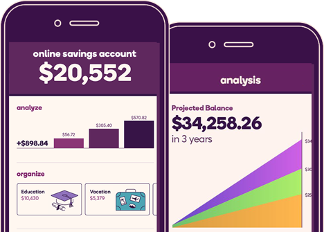 Phone illustrations showing savings goals and projected balance