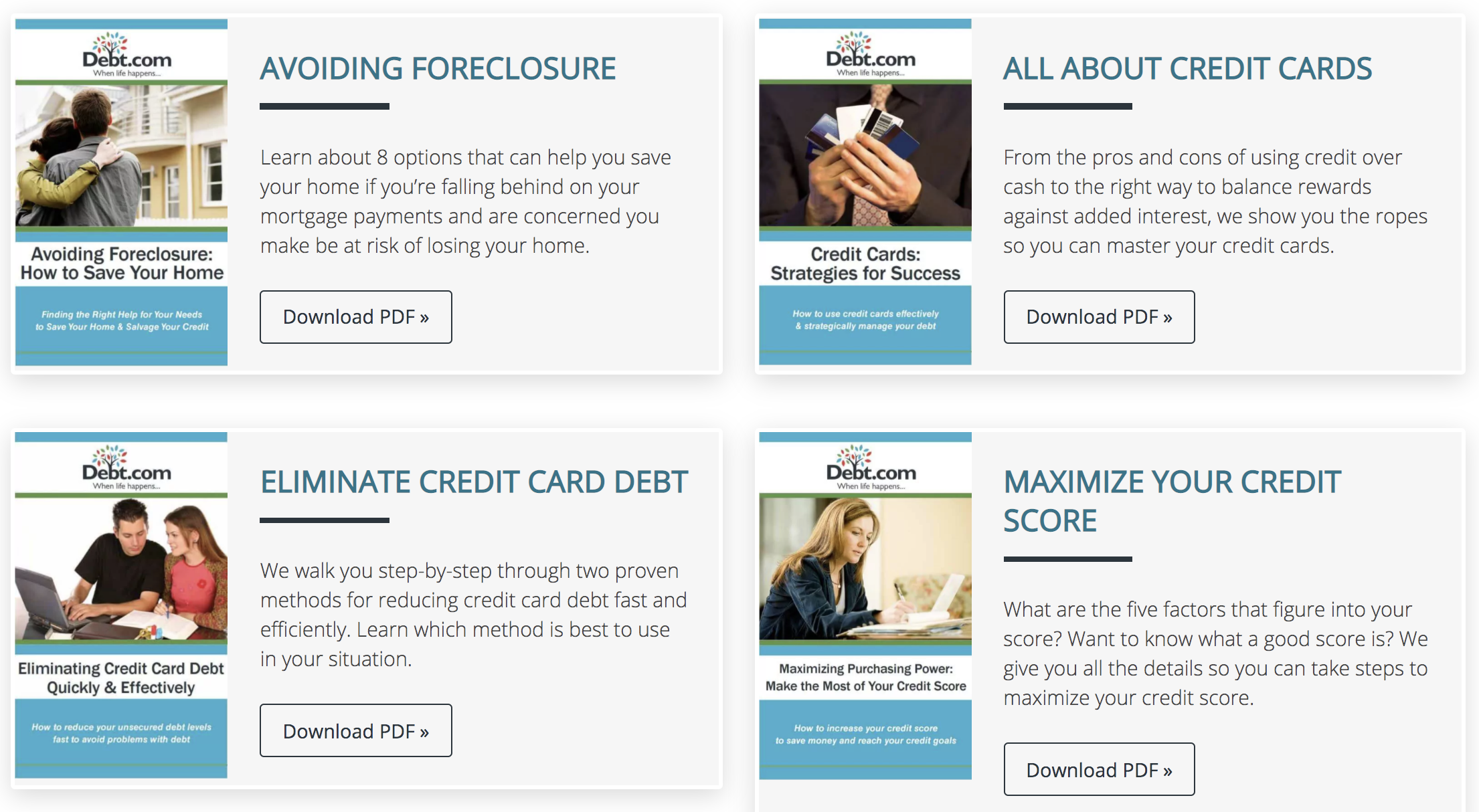 Booklets on foreclosure, credit scores, credit card debt, and credit cards