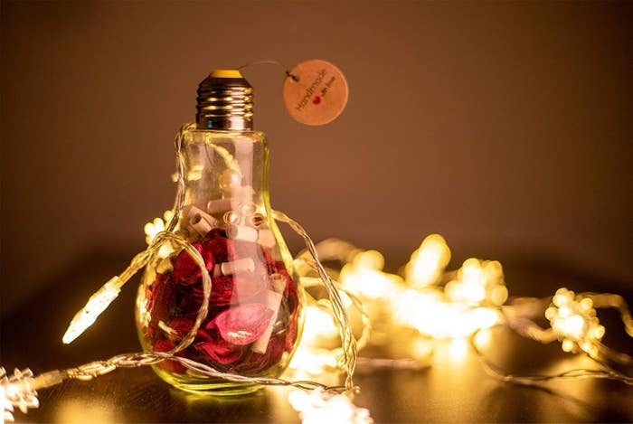 A bulb filled with scrolls, rose petals, and fairy lights