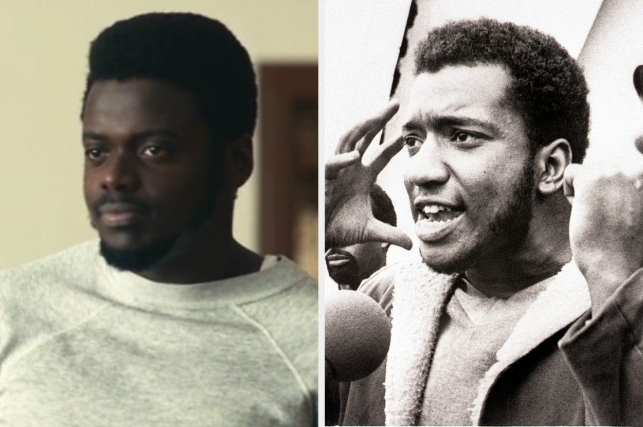 Daniel Kaluuya as Fred Hampton with facial hair and an archival photo of the real Fred Hampton