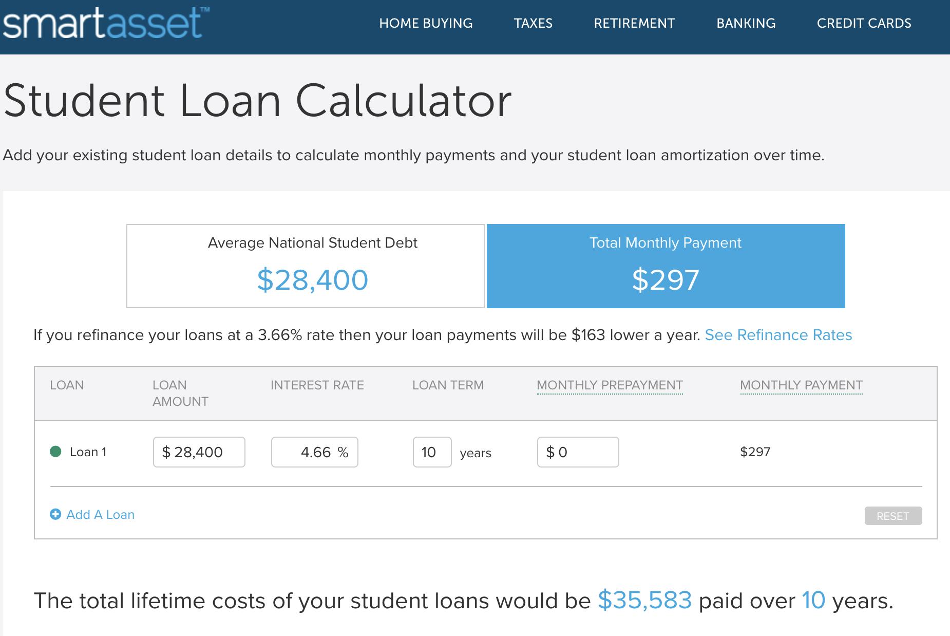 Student loan calculator screenshot