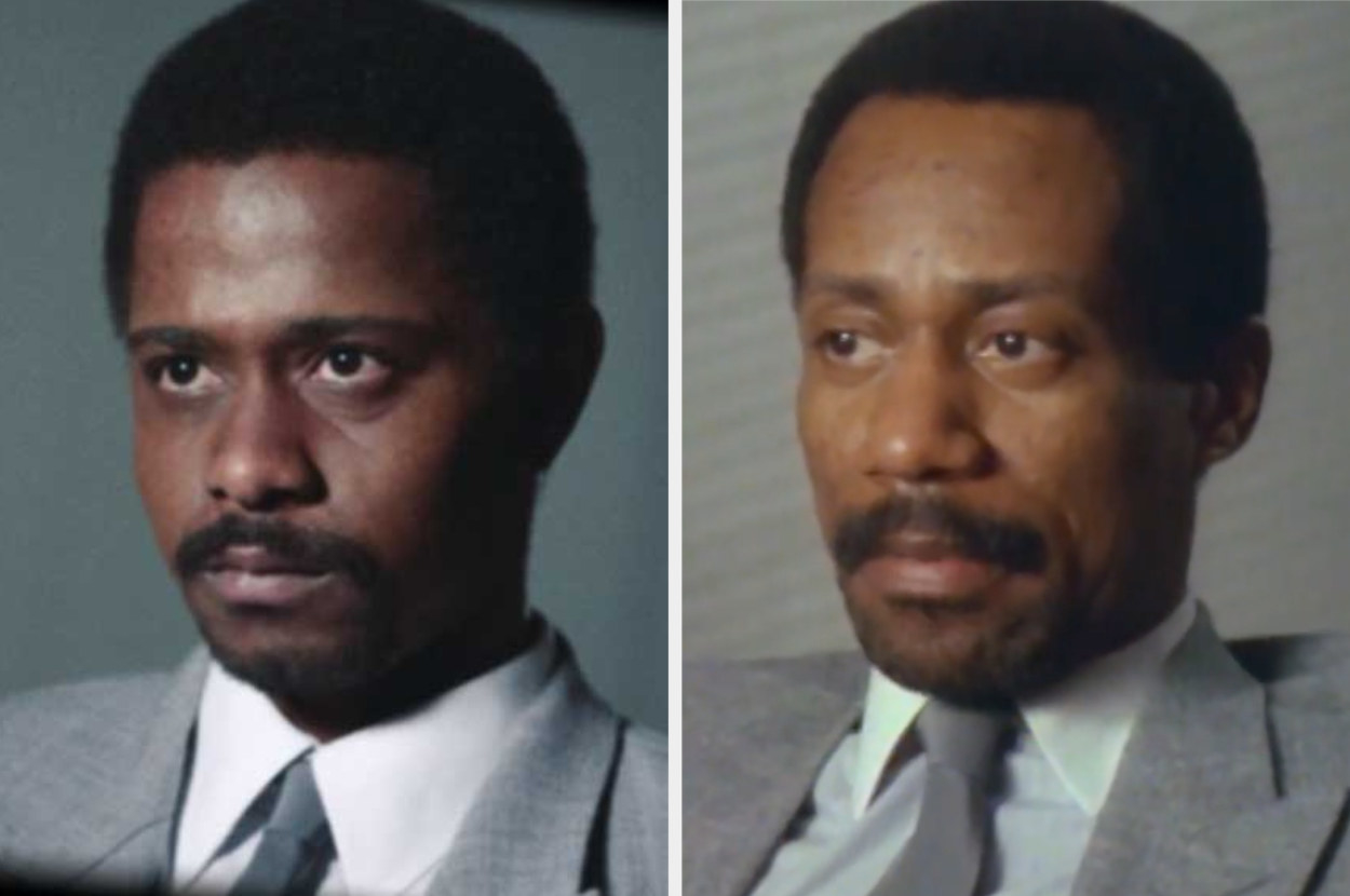 LaKeith Stanfield as William O'Neal wearing a grey suit and archival footage of the real William O'Neal in the same grey suit