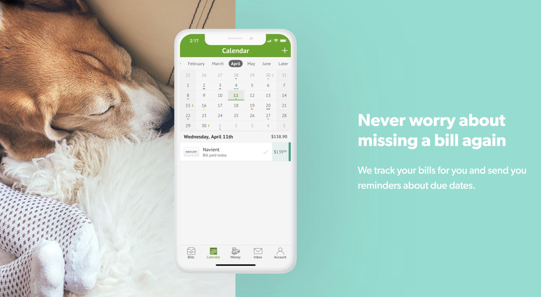Screenshot showing the app's calendar feature