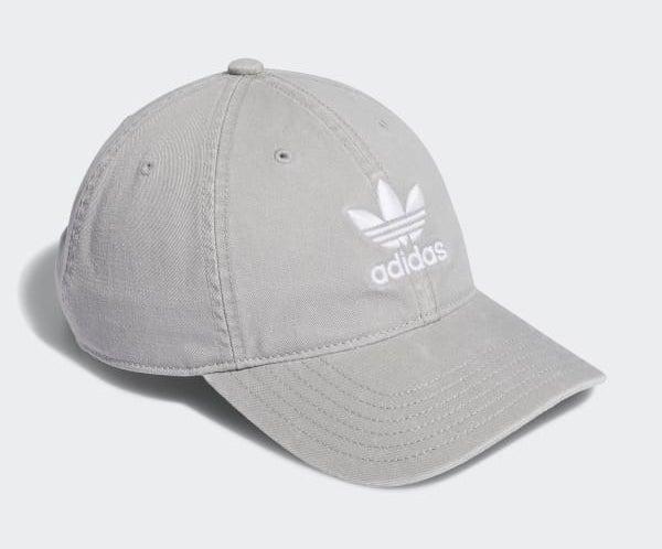 gray baseball cap with adidas logo on it
