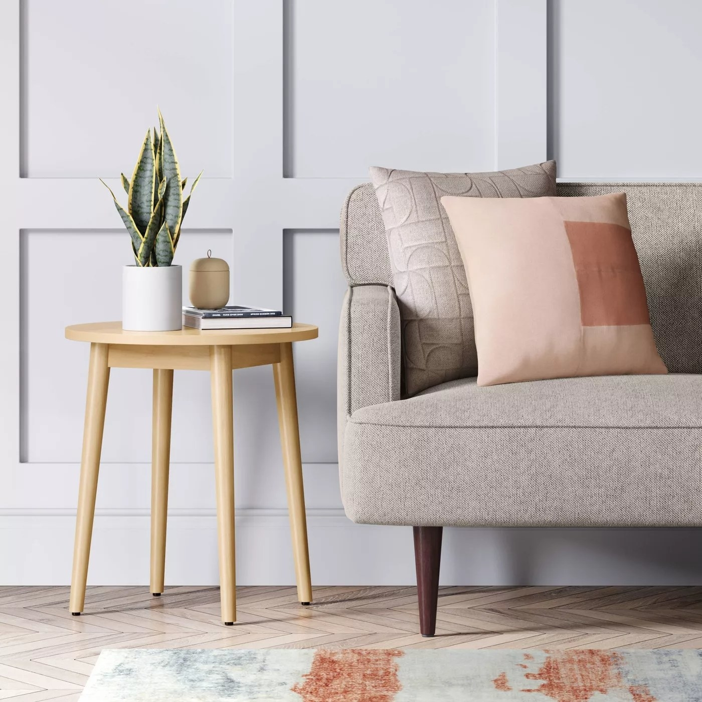 The end table placed next to a couch