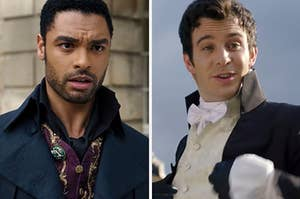 "Luke Thompson as Benedict Bridgerton and Regé-Jean Page as Simon Basset in the show ""Bridgerton."""