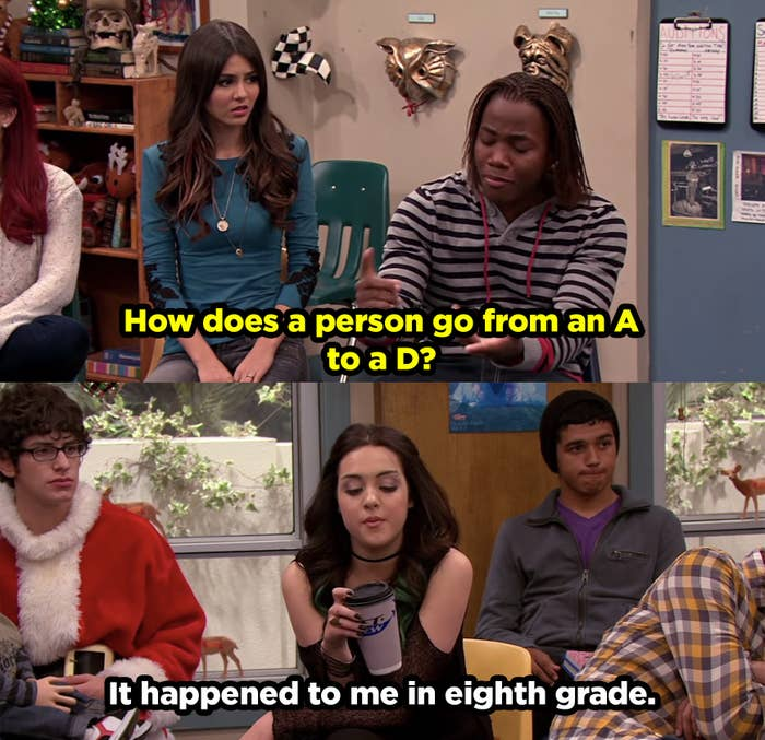 """Andre asking """"How does a person go from an A to a D?"""" and Jade responds, """"Happened to me in eighth grade."""""""