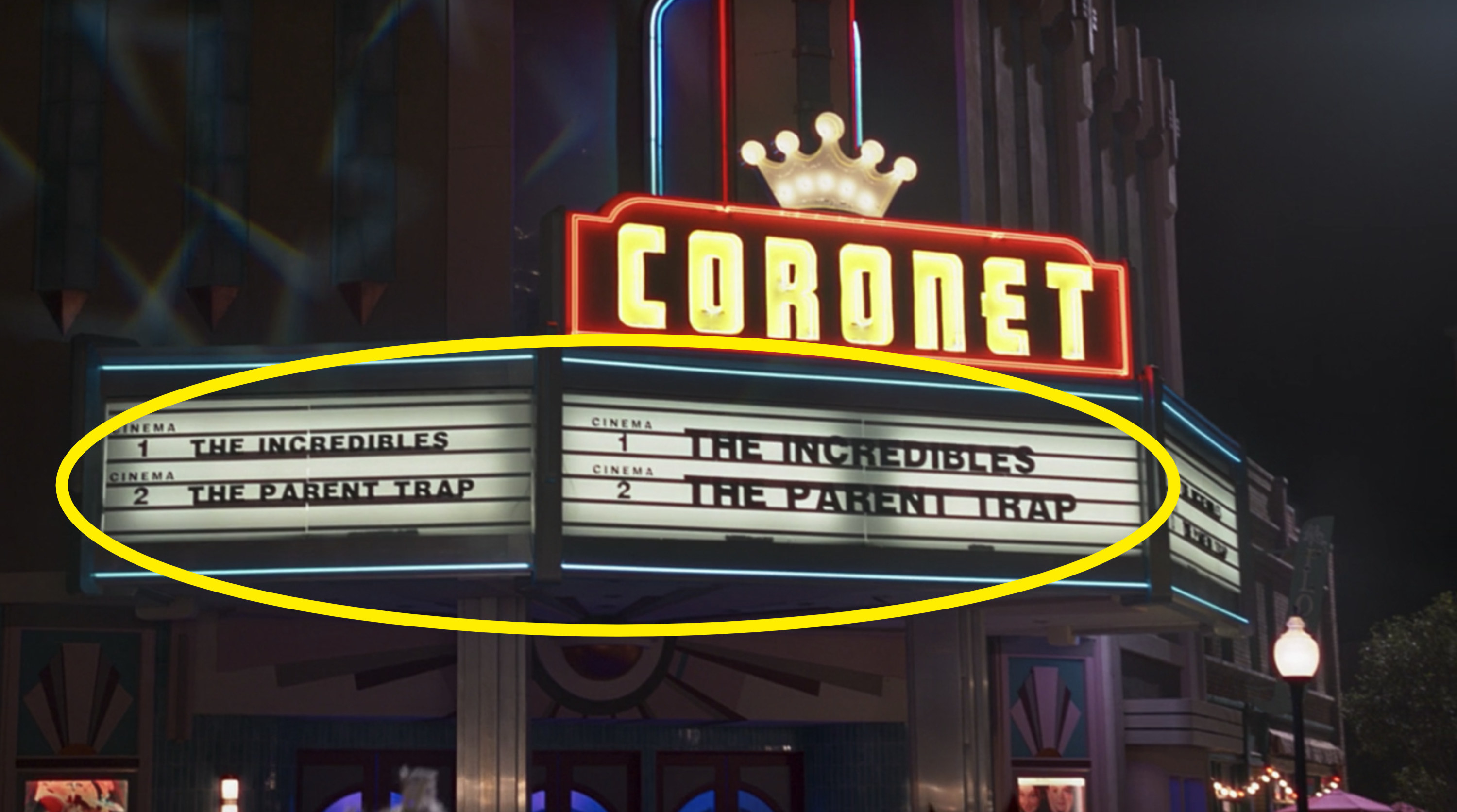 "A circle around a movie theater marquee showing ""The Incredibles"" and ""The Parent Trap"""